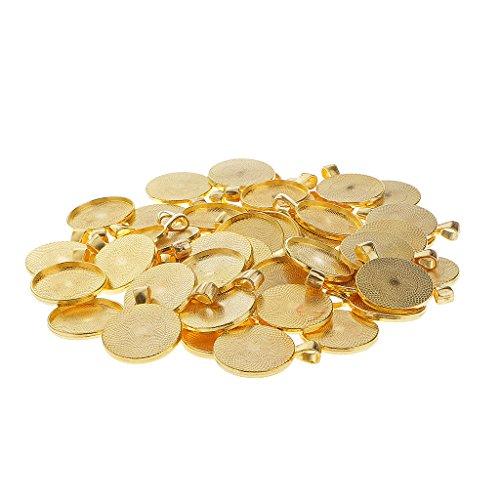 Jili Online 50 pcs Bezel Pendant Trays Round Cabochon Settings Trays Pendant Blanks 25 mm Diameter Color Choice - Gold -