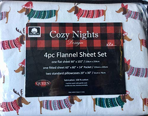 Cozy Colorful Queen Flannel Sheet Set, Dachshund Dog in Holiday Christmas Costume]()