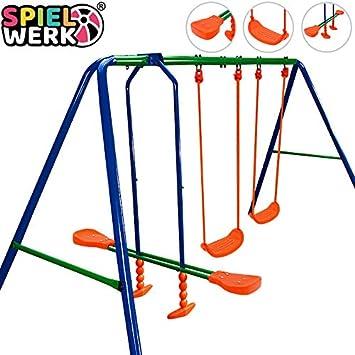 Deuba 2en1 Columpio y balancín de Acero Azul y Naranja Juego para niños de jardín Exterior protección piernas: Amazon.es: Juguetes y juegos
