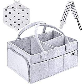 Baby Diaper Caddy Organizer, Portable Holder Bag for Changing Table and Car, Nursery Essentials Storage bins gifts with 1 Pacifier Clip, 1 Bib
