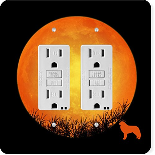 Rikki Knight 41369 Gfidouble Great Pyrenees Dog Silhouette By Moon Design Light Switch Plate -