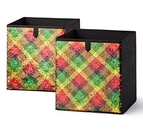 Mainstays Sequin Reversible Collapsible Fabric Storage Cube Bin, Set of 2 (Red/Green/Gold Plaid)