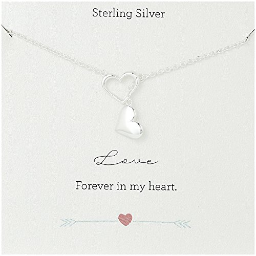 Open Heart Lariat Necklace - Sterling Silver Open Heart and Solid Heart Motifs Y-Shaped Necklace, 24