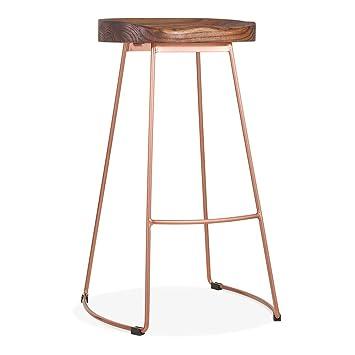 Cult Furniture Victoria Metal Bar Stool Wood Seat Option Copper