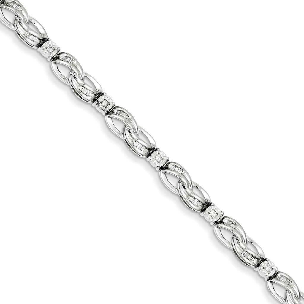 925 Sterling Silver Rhodium-plated Polished Diamond Infinity Symbol Tennis Bracelet 7''