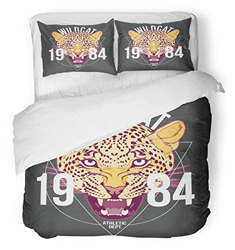 Emvency 3 Piece Duvet Cover Set Brushed Microfiber Fabric Breathable Animal Wilcat Design File Athletic Black Cat College Drawing Drawn Emblem Bedding Set with 2 Pillow Covers Full/Queen Size