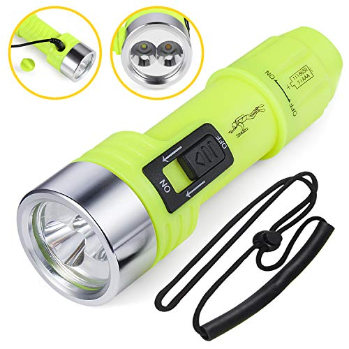 Yellow Rechargeable Flashlight - 2nd Generation Dive Light, Pro Scuba Diving Flashlight, Rechargeable Torch, 2 Light Mode, White Light LED Suit for Spearfishing, Camping, Yellow Li for Underwater Video, Night Hunting, Foggy Rainy Day