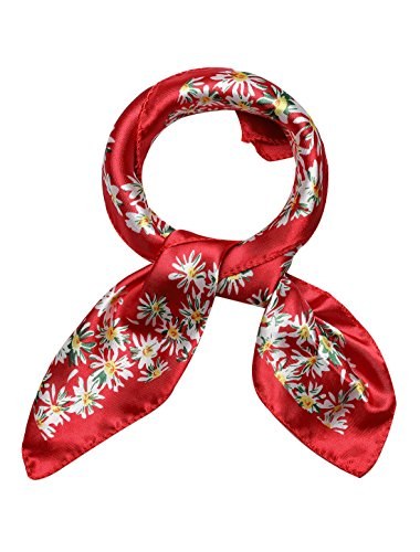 uxcell Women's Stain Print Square Scarves Kerchief Neck Scarf Red Floral