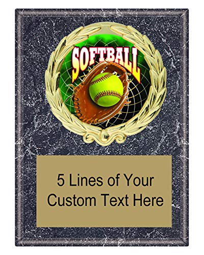 Express Medals 5x7 Black Marble Color Softball Plaque Award Trophy with Engraved Plate FCL547