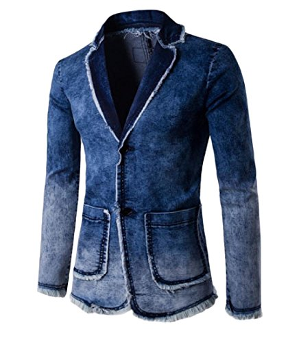 YUSKY Men's Custom Fit Wash Denim Notch Lapel Blazer Jacket Suits Blue S (Denim Custom Jacket)