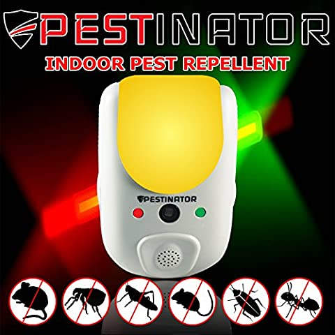 Pestinator Dual Ultrasonic & Electromagnetic Pest Repeller | Home Indoor Insect, Rodent, Bug Repellent | Child Safe, Cruelty Free | Repel Rats, Mice, Roaches, Mosquitos, Ants, (Raid Roach Bombs)