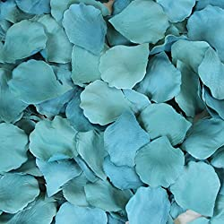 Koyal Wholesale 200-Pack Silk Rose Petals, Aqua Blue