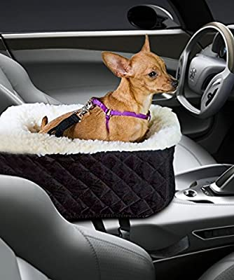 Pet Console Booster, Hkim Car Seat Lookout Carrier with Cashmere Cream Fur Safety Belt for Small Pets and Cats