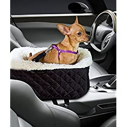 Pet Console Booster, Hkim Car Seat Lookout Carrier with Cashmere Cream Fur Safety Belt for Small Pets and Cats (Black)