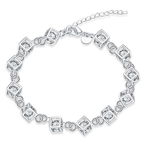 (DUANMEINAD 925 Sterling Silver Cube Adjustable Crystal Zirconia Chain Bracelet Square Box With Colorful Zircon Bracelet Lobster Buckle (Silver))