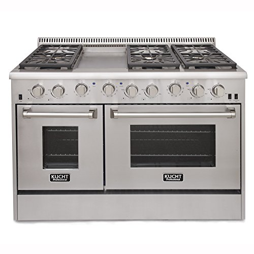 Kucht KRG4804U Professional 48'' 6.7 cu. ft. Natural Gas Range with Sealed Burners, Griddle and Two Ovens, Stainless-Steel by Kucht