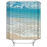 Beach Theme Custom Ocean Waves California Paradise Custom Polyester waterproof Bath Shower Curtain Rings Included