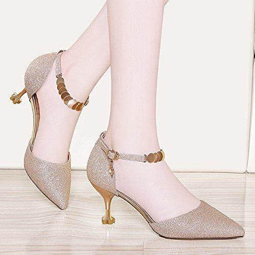 Schuhe Spitze Heels Für Gold Schnalle Zehenpumps Elegant Kätzchen Party Kleid Stiletto Hochzeit Frauen 5wqOIP5