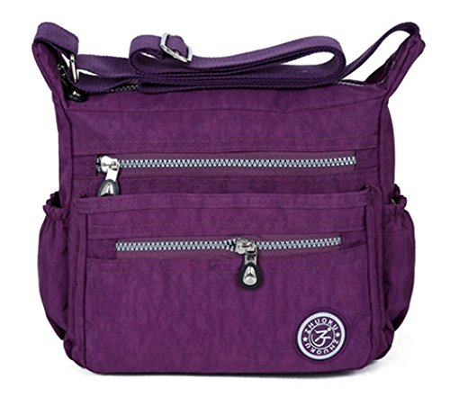 Lady's anti-splash water Shoulder Bag Casual Handbag Messenger bag Crossbody Bags Multi-functional pocket design: can plug flat, book, wallet, etc Purple