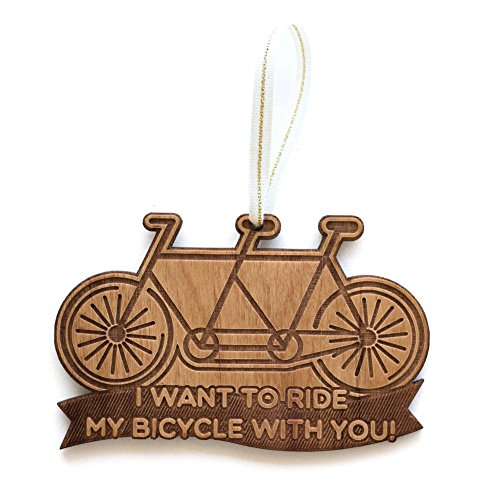 Tandem Bike Laser Cut Wood Ornament (Christmas / Holiday / Personalized Available / Anniversary / Newlyweds / Keepsake) (Ornament Bicycle Holiday)