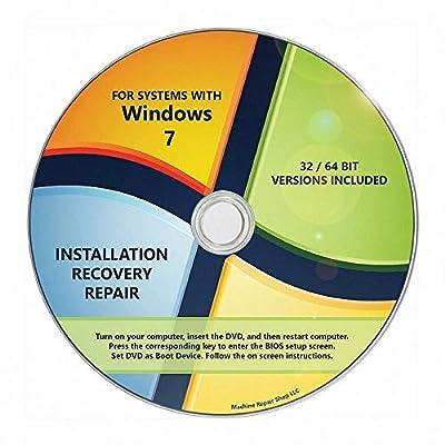Windows 7 Install DVD 32 64 Bit SP1 Reinstall System Repair All Recovery Restore CD Disk Disc Machine Repair Shop (R) DVD