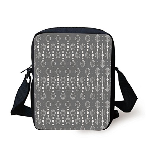 IPrint Grey,Various Sized Geometric Circles Rounds Chained Spirals Retro Style in Mod Graphic Art Home Decorative,Gray White Print Kids Crossbody Messenger Bag -
