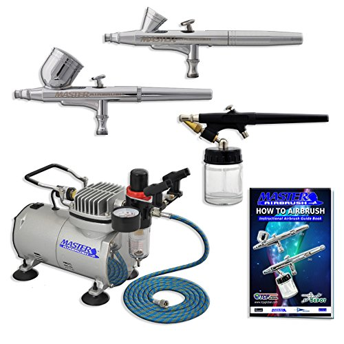 Kit Airbrush Feed (3 Airbrush Professional Master Airbrush Multi-Purpose Airbrushing System Kit - G22, G25, E91 Gravity & Siphon Feed Airbrushes, Hose, Air Compressor, Airbrush Holder - How-To-Airbrush Guide Booklet)