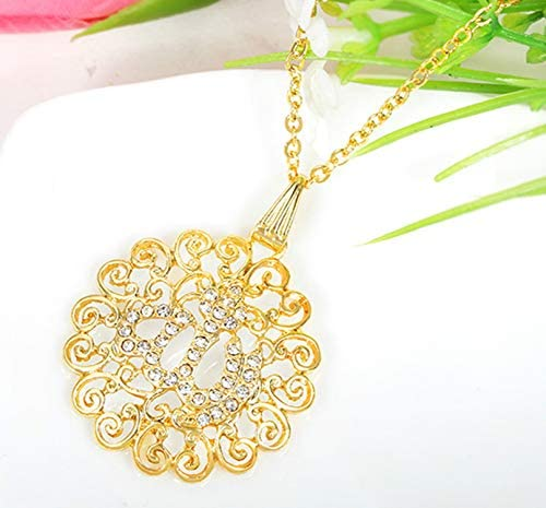 Hollow crystal necklace curly-print pendant
