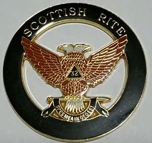 Z-170 32 Degree Wings Down Die Cut Masonic Auto Emblem Car Scottish Rite Mason