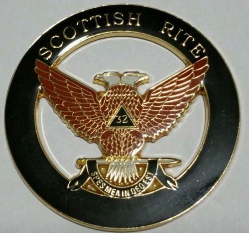 (Freemason Masonic Scottish Rite 32nd Degree Wings Up Car Emblem)