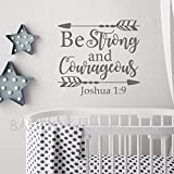 BATTOO Joshua 1:9 Be strong and courageous - Nursery Wall Decal Quote Arrows Vinyl Wall Decal - Bible Verse Boy Room Scripture Wall Decal Vinyl Lettering(dark gray, 33''WX30''H)