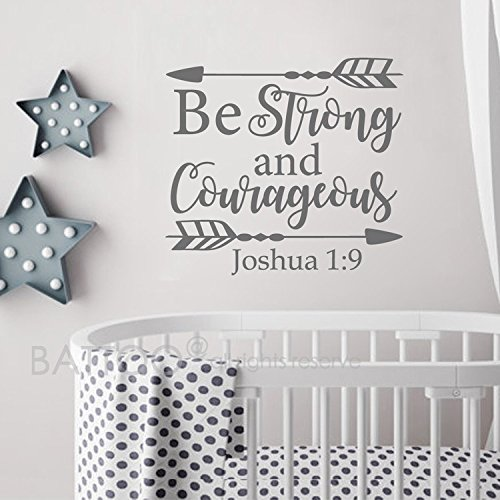 - BATTOO Joshua 1:9 Be strong and courageous - Nursery Wall Decal Quote Arrows Vinyl Wall Decal - Bible Verse Boy Room Scripture Wall Decal Vinyl Lettering(dark gray, 24