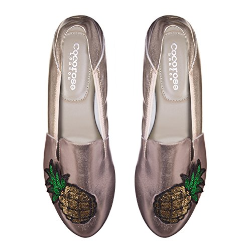 Ladies Cocorose con plegables Carnaby oro Zapatos Alpargatas de rosa piña qtvZWOx