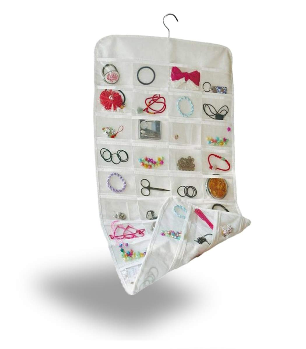 Double-Sided Jewelry Hanging Organizer Display Hanger Small Tools Holder with 80 Clear Pockets (White)