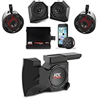 MTX Polaris RZR Remote Control Bluetooth Receiver All Weather Kit w Custom Dash and Roll Bar Speakers, Subwoofer & Amplifier