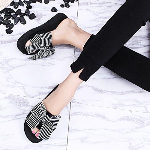 Da il Donna striature blu tie Pantofole Alla elegante trascinare 3cm da 37 spiaggia scarpe di e Sandali spessore 34 filtro Moda AJUNR bow rilasciare 4c0S8f5pw