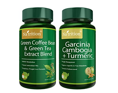 Combo Tea Extract - Na'trition Green Coffee Bean plus Green Tea Extract Blend and Garcinia Cambogia plus Turmeric Powder Capsules - Weight Loss Combo - Total 120 Capsules
