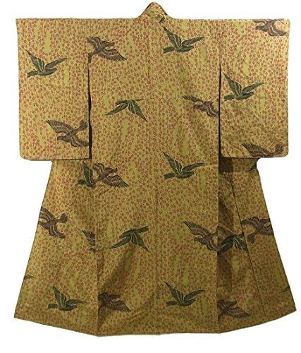 故障必要としているフロントアンティーク 着物 お召 ひとえ 花と鳥の模様 裄62.5cm 身丈150cm
