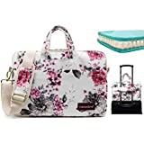 Canvaslove Chrysanthemum Pattern 13 inch Waterp Laptop Shoulder Messenger Case Bag With 270 Degree Rebound Bubble Protection For Macbook Pro Air 13 and 11 inch 12 inch 13.3 inch Laptop
