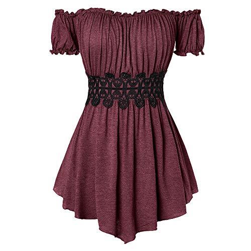 lace insert blouse - 3