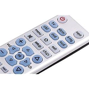 GE 33712 6-Device Big Button Universal Remote Control, Soft-Blue LED Fully Backlit, Designer Series, Brushed Nickel