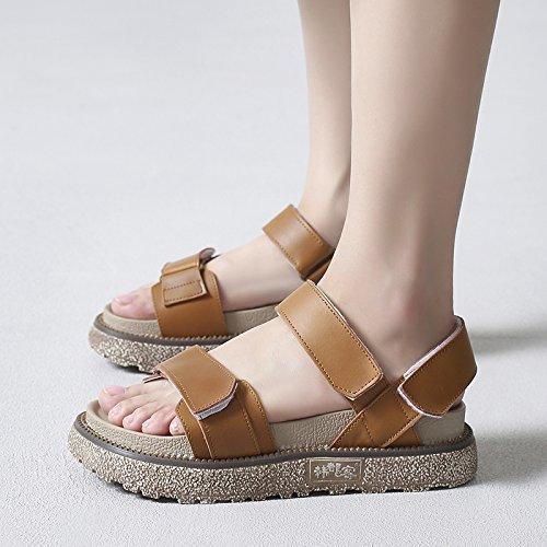 SOHOEOS Sommer neue flache Plattform aus echtem Leder Sandalen für für für Frauen junge Studenten römischen Sandalen Klett Damen 22b532