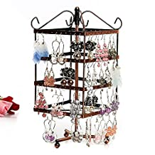 Jewelry Stand, Botitu® 10.6 inch Revolving Earring Holder with 3 Tiers 128 Hooks Jewelry Organizer for Girls and Women, Perfect for Hanging Hair Accessories and Bracelets Jewelry Storage