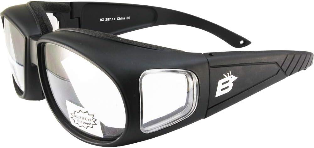 Birdz Swallow Foam Padded Motorcycle Riding Glasses Black Frame Clear Lenses