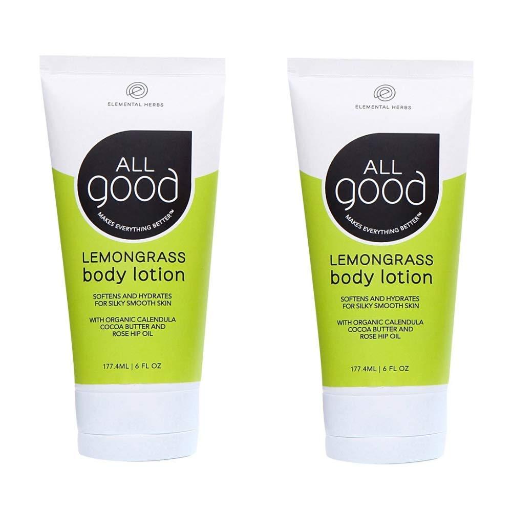All Good Body Lotion w/Essential Oils - Moisturizing Organic Calendula, Cocoa Butter, Coconut & Rose Hip Oil - Non GMO - Vegan - 6 oz (Lemongrass)(2-Pack)