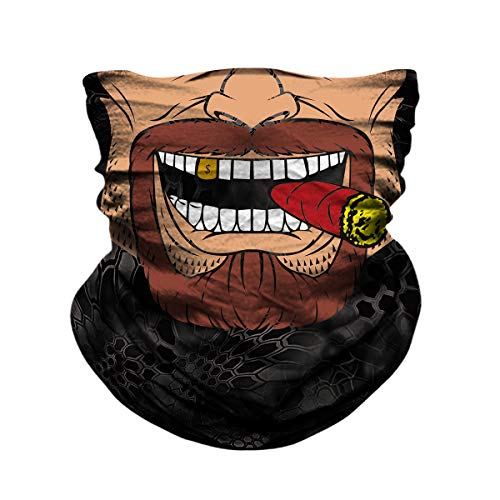(JOEYOUNG Skull Face Mask - UV Sun Dust Protection Neck Gaiter, Half Motorcycle Face Mask Skull Bandana Mask, Seamless Headwear Tube Mask for Fishing Hunting Cycling Men Women (Skin&jocker-0962))