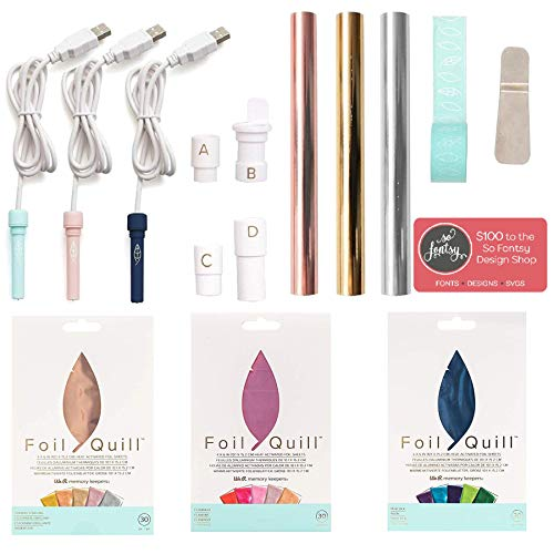 Foil Quill All-in-One Deluxe Bundle, 3 Quill Sizes, 3 Foil Packs, Adapters, Foils, Tape, Design Card by We R Memory Keepers (Image #7)