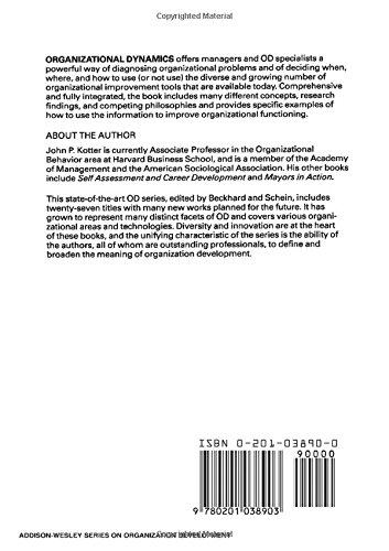 Buy Organizational Dynamics Diagnosis And Intervention Prentice Hall Development Series Addison Wesley On Organization