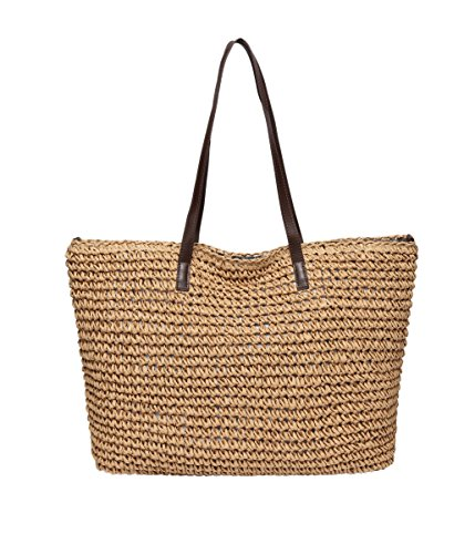 Defeng Women Shoulder Bag Straw Beach Bags Totes Hobos Handbag Vacation Weekender Top-Handle Bag Light Brown-b015