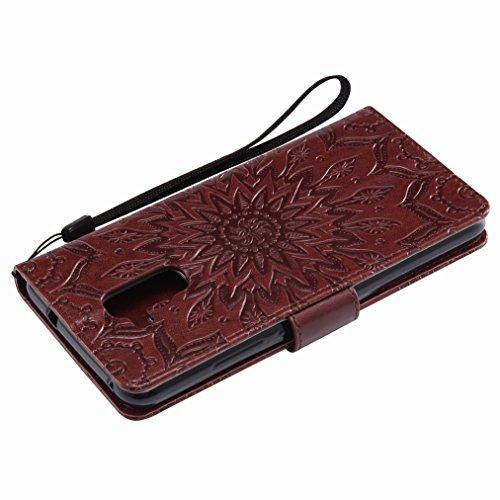 Yiizy Huawei Honor 5c Custodia Cover, Sole Petali Design Sottile Flip Portafoglio PU Pelle Cuoio Copertura Shell Case Slot Schede Cavalletto Stile Libro Bumper Protettivo Borsa (Marrone)